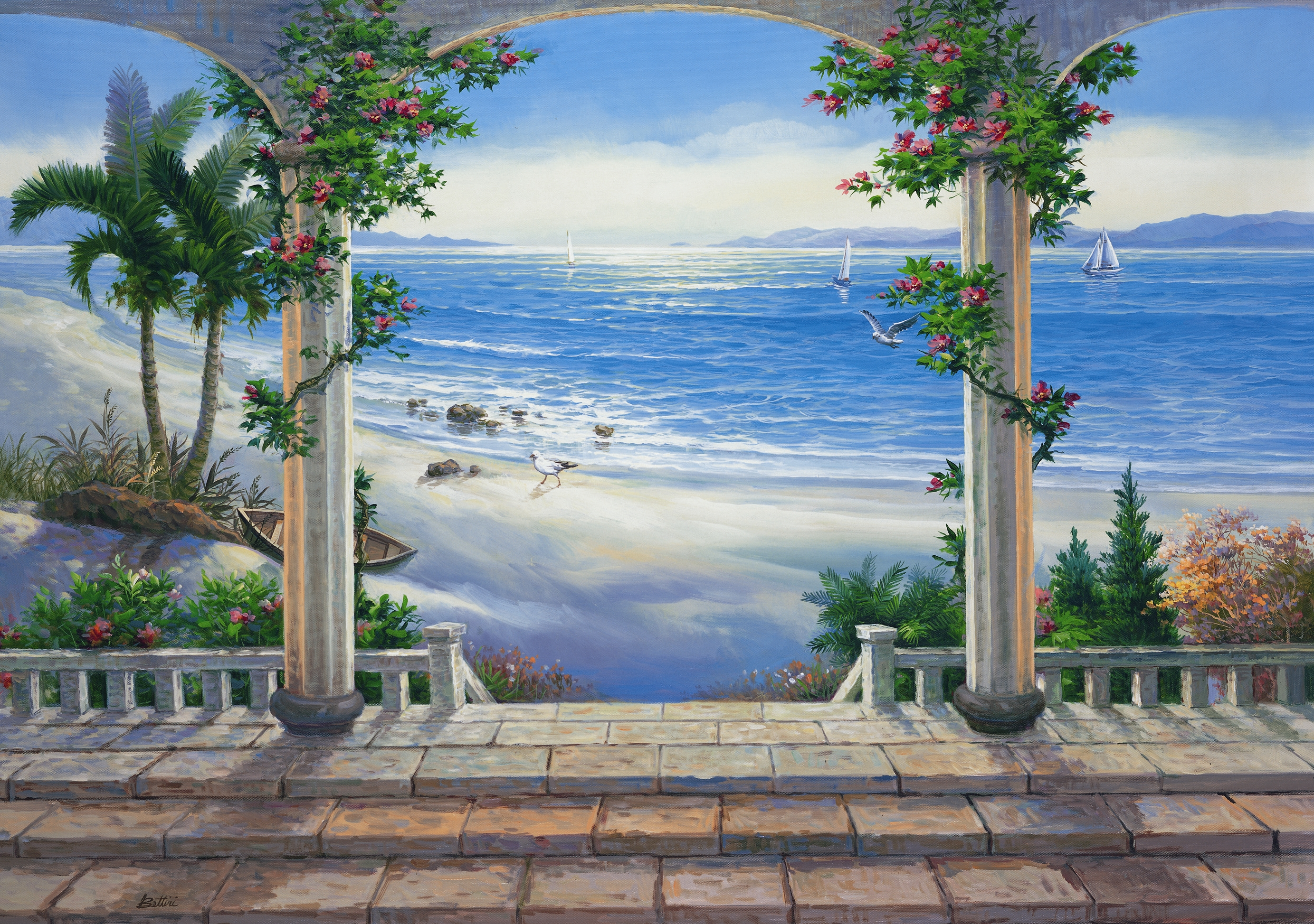 Ocean view wall mural pr1813 for Beach mural for wall