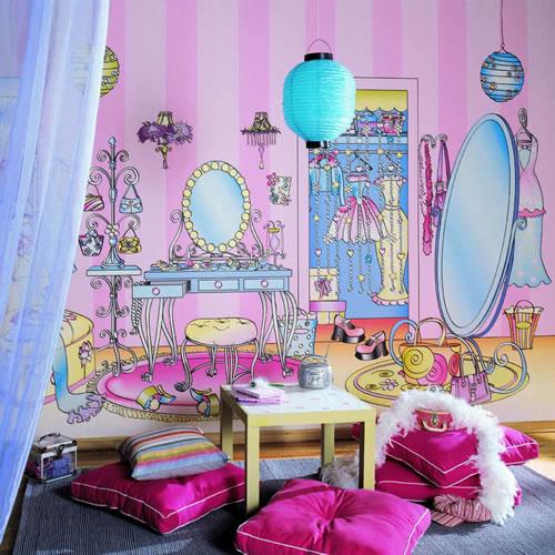 ru8171m dressing room wall mural. Black Bedroom Furniture Sets. Home Design Ideas