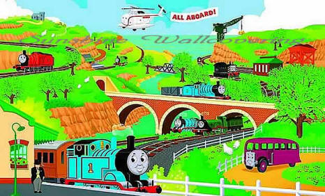 thomas the tank engine yh1415m wall mural. Black Bedroom Furniture Sets. Home Design Ideas